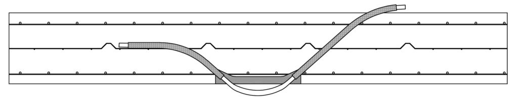 Schnitt Rohrdurchführung im Beton BKT Betonkernaktivierung Betonkerntemperierung